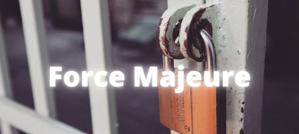 Force Majeuer lettering over padlocked gate