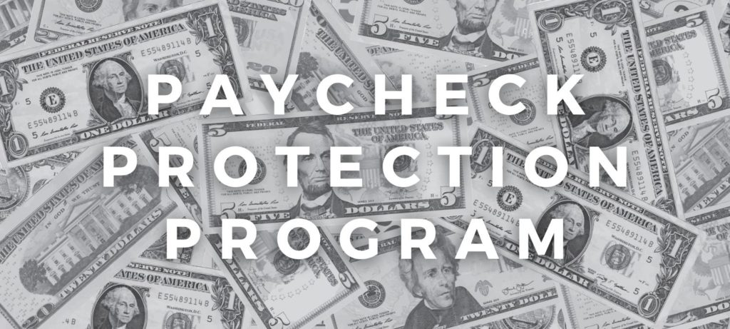 Graphic with money background and Paycheck Protection Program text